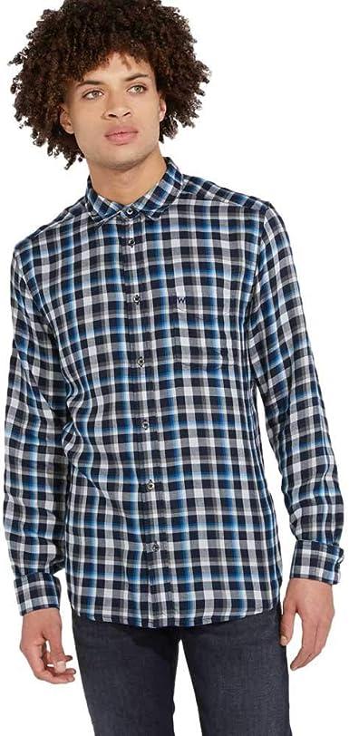 Wrangler Camisa a Cuadros con un Bolsillo, Color Azul: Amazon.es: Ropa y accesorios