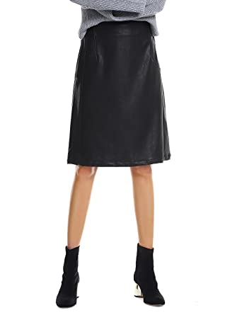 b5c1aaed962f7 ZAN.STYLE Women's Knee Length Black Faux Leather Skirt High Waist at ...