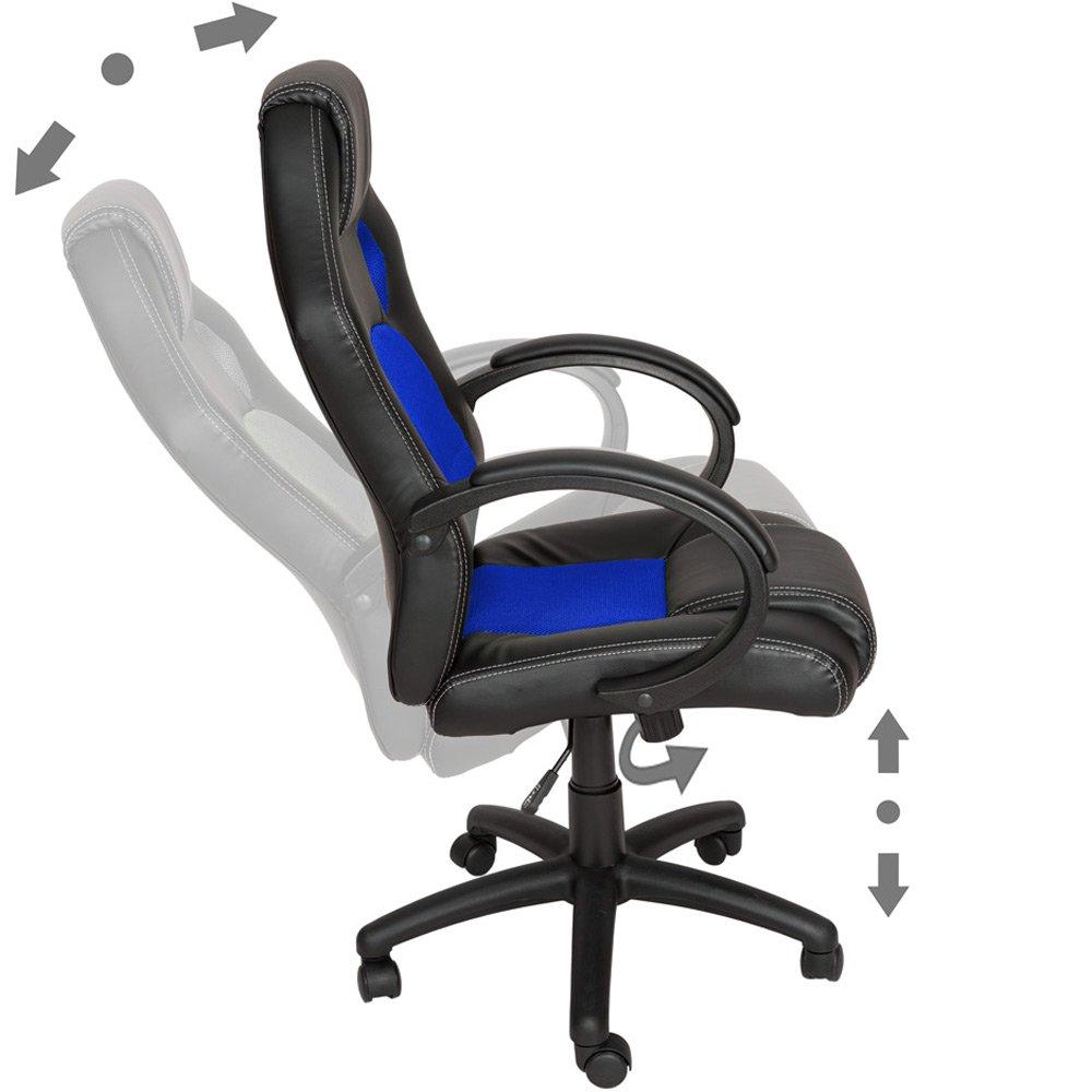 TecTake Silla de escritorio de oficina, Racing - disponible en diferentes colores (Azul)