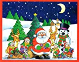 Unique Imported Classic Christmas Advent Calendar of Colorful Santa Claus with Snowman and Children Xmas Perfect Holiday Gift {jg} For mom, dad, sister, brother, grandma, friend, gay