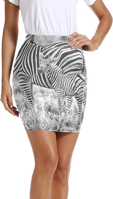 LUPINZ Mini Falda elástica para Mujer con Estampado de Cebra, para ...