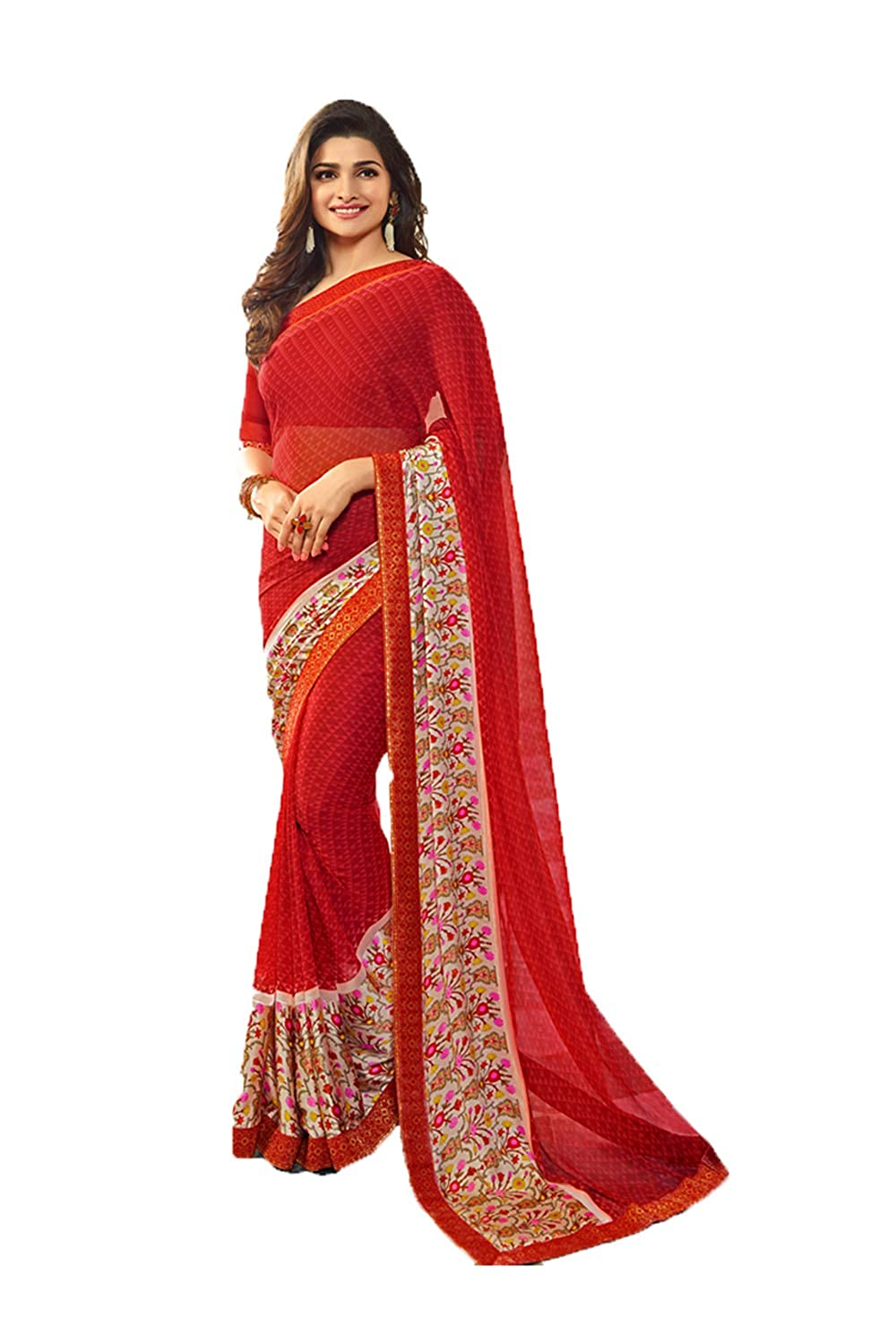 Indian Sarees for Women Wedding Designer Party Wear Traditional Red Sari. NF-R-66