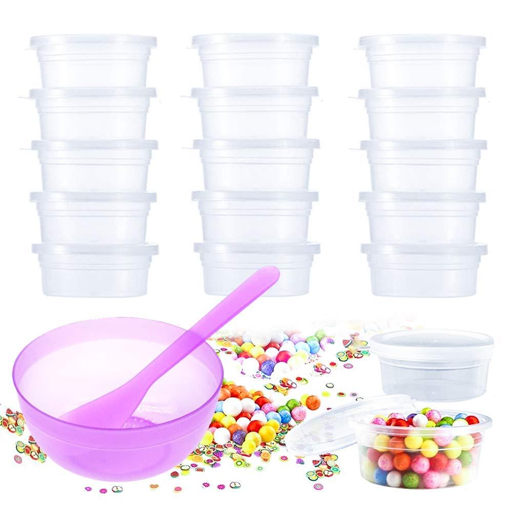 Lot de 30boîtes de rangement Slime Plus 2Pacs DIY Slime Bol à mélanger et cuillère, pots de stockage avec couvercle en plastique Transparent Boîtes de rangement pour la création de Slime, perles, petite LeakProof réutilisable pveath