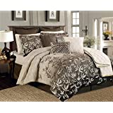 12 Pieces Brown Beige Bamboo Leaves Tropical Comforter Set Queen Size Bedding