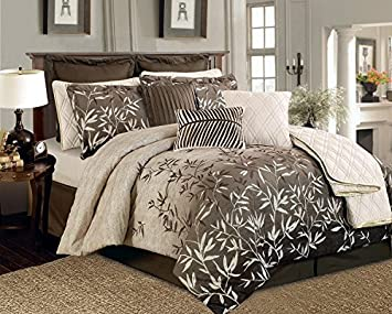 Amazon.com: 12 Pieces Brown Beige Bamboo Leaves Tropical Comforter ...