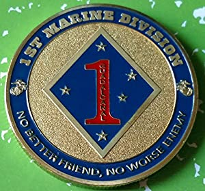 USMC Marine Corps 1st Marine Division Military Colorized Challenge Art Coin from HMC