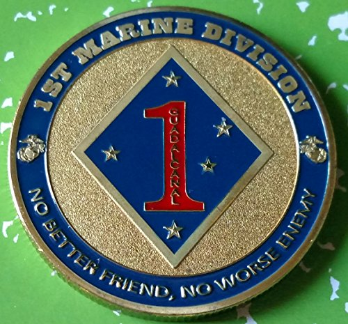 USMC Marine Corps 1st Marine Division Military Colorized Challenge Art Coin