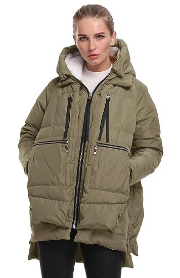 06e40efc1 FADSHOW Women's Winter Down Jackets Long Down Coats Warm Parka with Hood