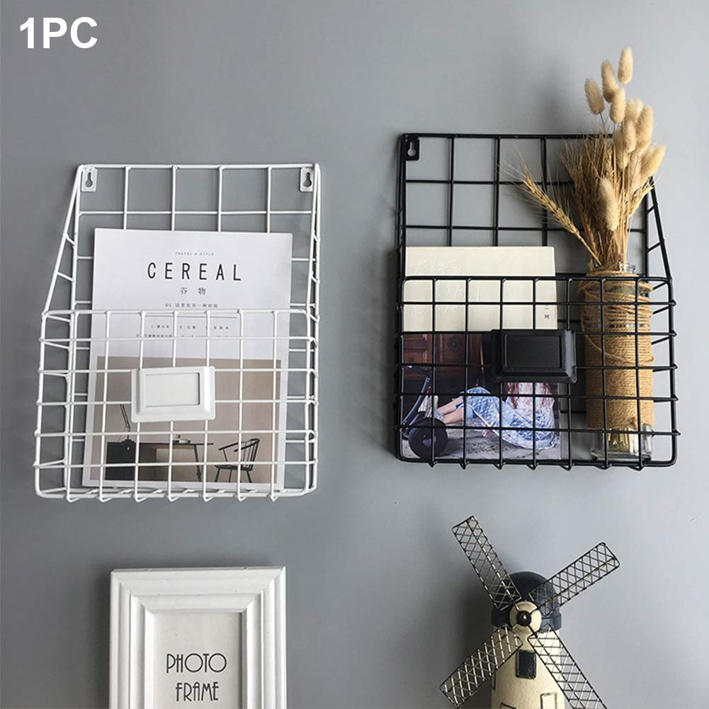 Lovt Wall Mounted Rustic Metal Wire Magazine Storage/Organizer Basket Rack,Wrought Iron Bookshelf Magazine Rack Storage Basket Hanging Shelf (Black) by Lovt (Image #5)