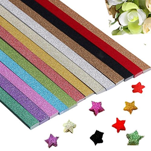 GBSELL 260pcs 13 Colors Origami Glitter Stars Papers Package