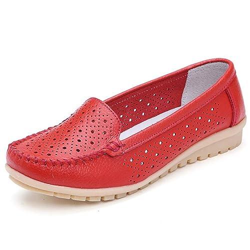 Zapatos Planos Mujer Mocasines Recorte De Las Mujeres del Cuero Genuino De Las SeñOras Se Deslizan En El Ballet Casual Ballerines Pisos Calzado: Amazon.es: ...