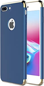 """iPhone 8 Plus Case,iPhone 7 Plus Case,RORSOU 3 in 1 Ultra Thin and Slim Hard Case Coated Non Slip Matte Surface with Electroplate Frame for Apple iPhone 7/8 Plus (5.5"""") - Blue and Gold"""