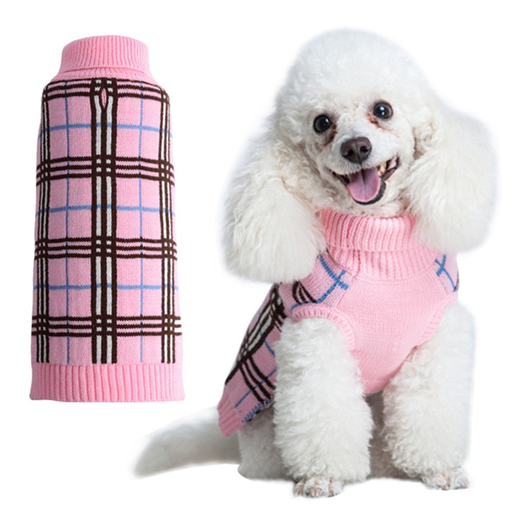 KOOLTAIL Dog Sweater Plaid Doggie Clothes for Girls Boys Pink Best4cat KPC01_XS