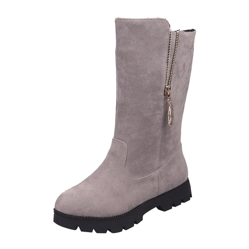 Kaiki Botte Femme Hiver, Bottes Femmes Boucle Faux Chevalier Chaud Chaussures Plates Martin, Taille 35-43 K181201AA1278