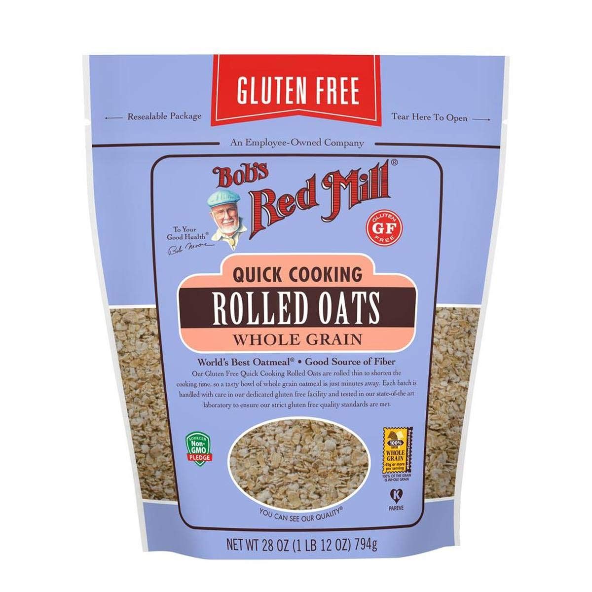 Bob's Red Mill Resealable Gluten Free Quick Cooking Rolled Oats, 28 Oz (4 Pack) by Bob's Red Mill