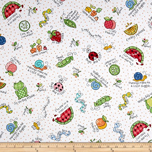 Maywood Studio Kimberbell Lil' Sprout Flannel Too! Lil' Sprout Toss White Fabric By The (Flannel Maywood Studios)