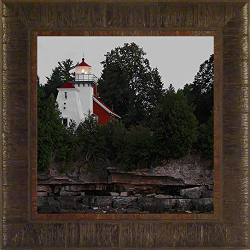 (Sherwood Point Light By Todd Thunstedt 17.5x17.5 Idlewild Sturgeon Bay Wisconsin WI Door County Lighthouse Sailing Tall Ship Ocean Sea Split Rock Duluth North Shore Fish Creek Peninsula State Park National Register of Historic Places Maritime Museum Gills Rock Canal Great Lakes Lake Michigan Superior Framed Art Print Wall Décor Picture)