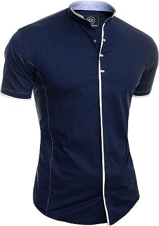 Hombre Camisa Elegante de Manga Corta Casual Cuello Alto broches Metal algodón: Amazon.es: Ropa y accesorios