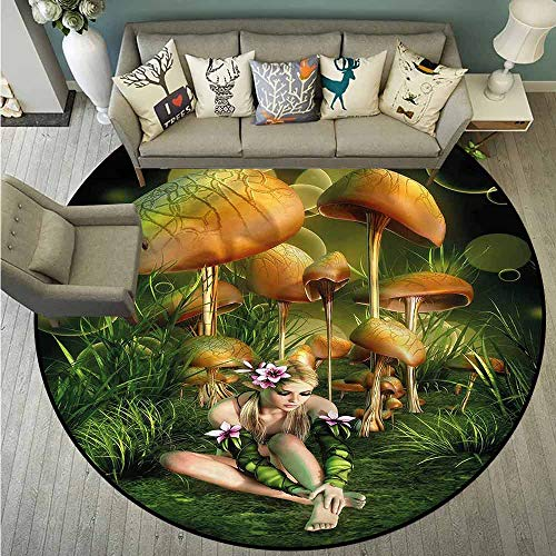 (Non-Slip Round Rugs,Mushroom,Elf Woman Enchanted Forest,Anti-Slip Doormat Footpad Machine Washable,4'11