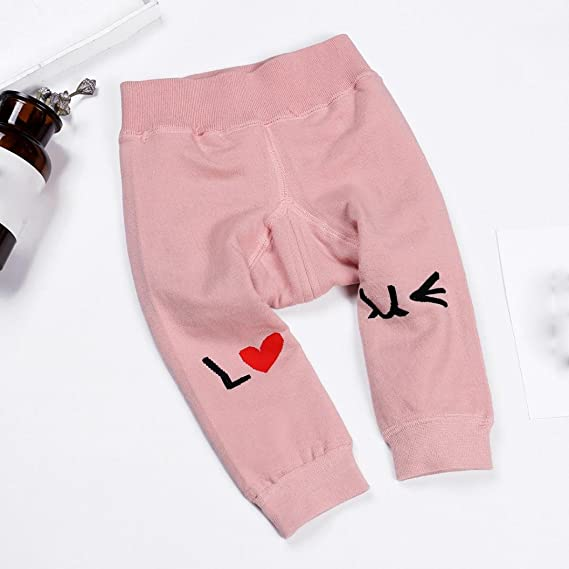 Digood for 0-3 Years Old Baby Autumn Winter Kids Girls Boys Open-Seat Pants Cotton Love Letters Cute Trousers