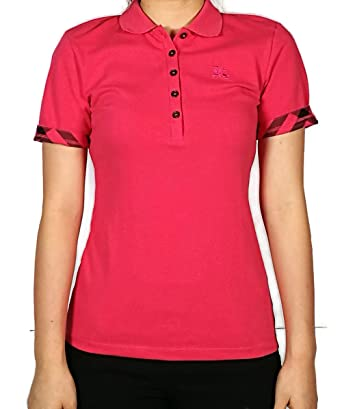 0ec6593648e4 BURBERRY Women s Bright Rose Short Sleeve Check Cuff Stretch Cotton Polo  Shirt (X-Small