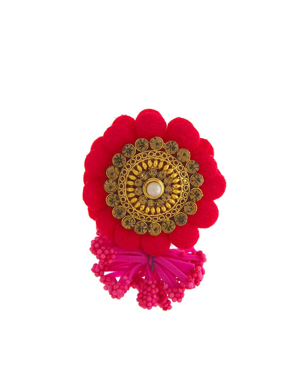 Anuradha Art Pink Colour Flower Inspired Adorable Sari/Saree Pin for Women/Girls
