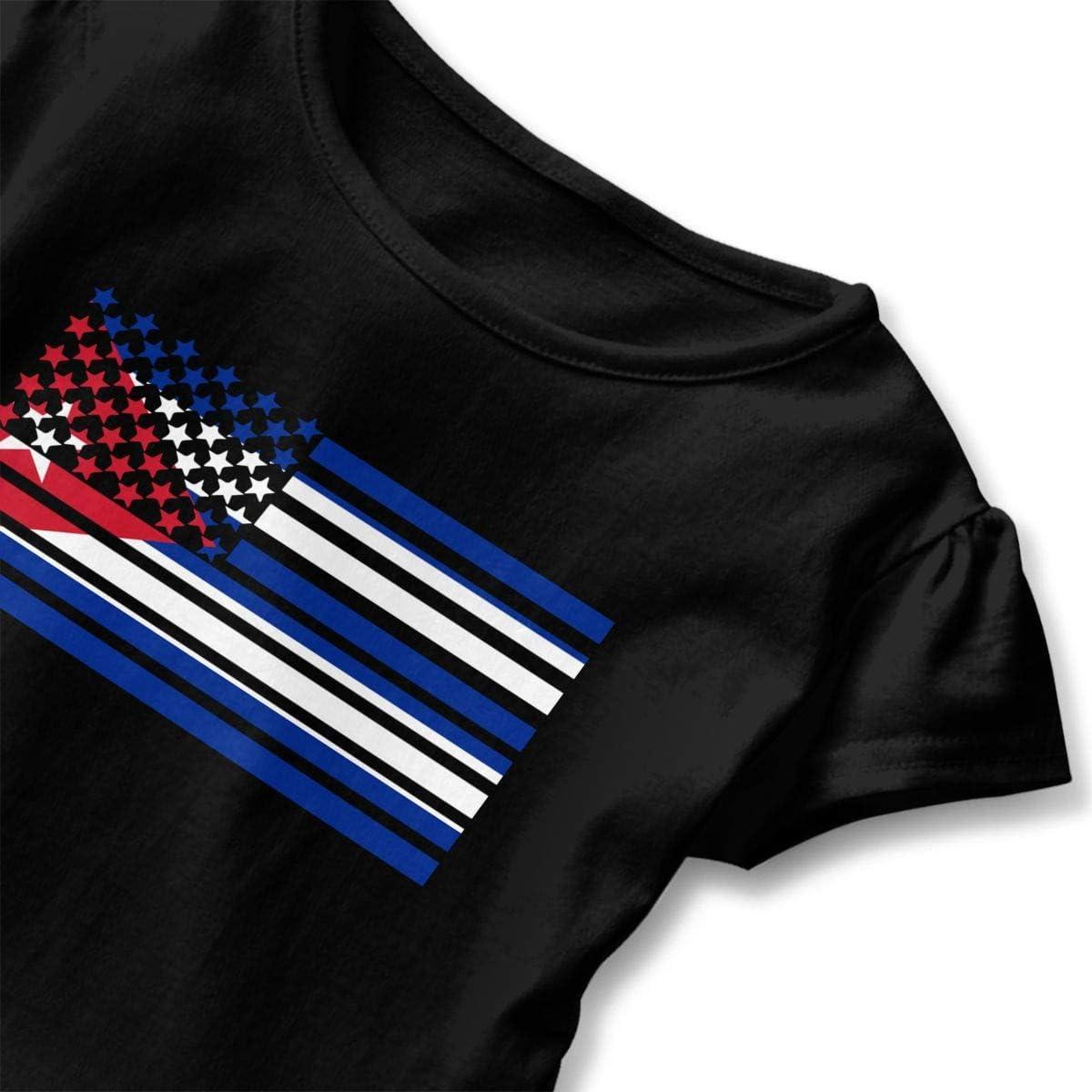 GNKTGBO2O Toddler Girls American Cuba Flag 100/% Cotton T Shirts Short Sleeve Ruffle Tee Basic Tops
