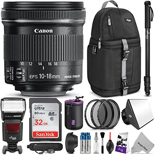 Canon EF-S 10-18mm f/4.5-5.6 IS STM Lens w/ Complete Photo and Travel Bundle - Includes: Altura Photo Flash, Backpack, UV-CPL-ND4, Monopod, SD Card, Lens Hood, Diffuser, Pouch, Strap, Cleaning - Canon Wide Strap