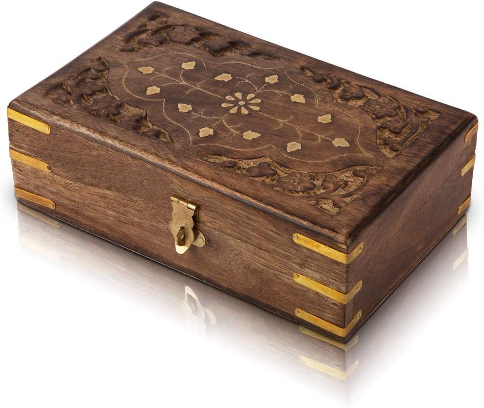 Birthday Gift Ideas Handmade Decorative Wooden Jewelry Box With Free Lock & Key Jewelry Organizer Keepsake Box Treasure Chest Trinket Holder Lock Box Watch Box 8 x 5 Inch Anniversary Gifts Her
