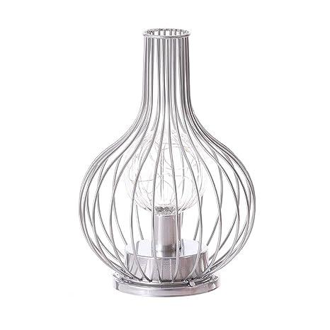 Lámpara de mesa vintage de metal, luz blanca cálida ...