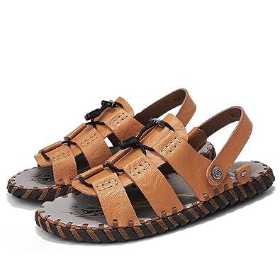 Koyi Neue Herren Sandalen Leder Strand Schuhe Casual Sandalen und Hausschuhe