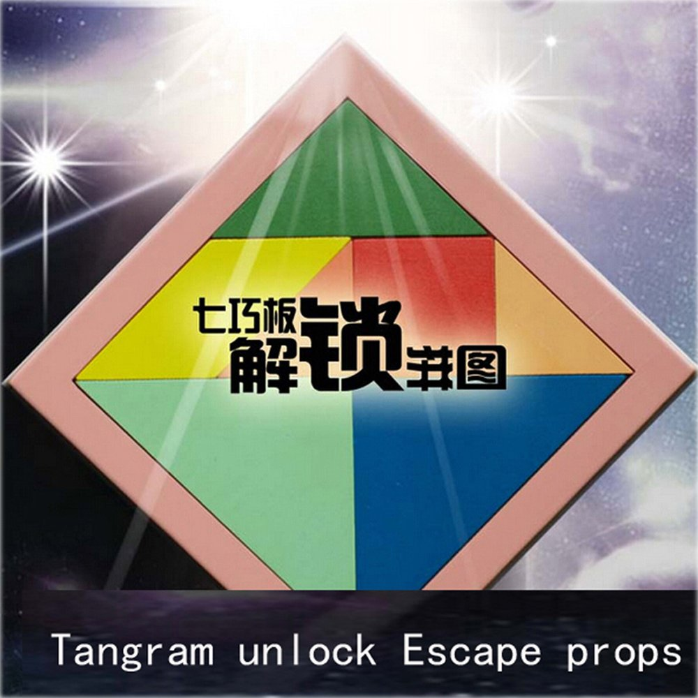 Tangram game props tools Tangram unlock simulation Room Escape puzzles open the magnetic lock game props
