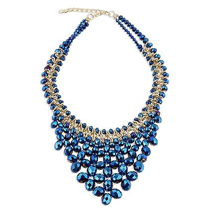 325ba7407da6 Collar de Cristal Hecho a Mano de Las señoras Colgante Grande Elegante  decoración del Partido Cadena