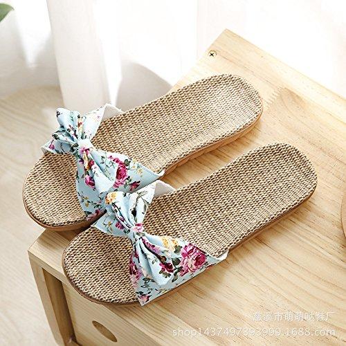 Interior 36 35 De Bow Y Jia Antideslizante Femeninas Floor Inicio Hong Cute Oficina Home pink Zapatillas Blue Linen Exterior 38 37 Verano Zapatillas UqffH4xwX
