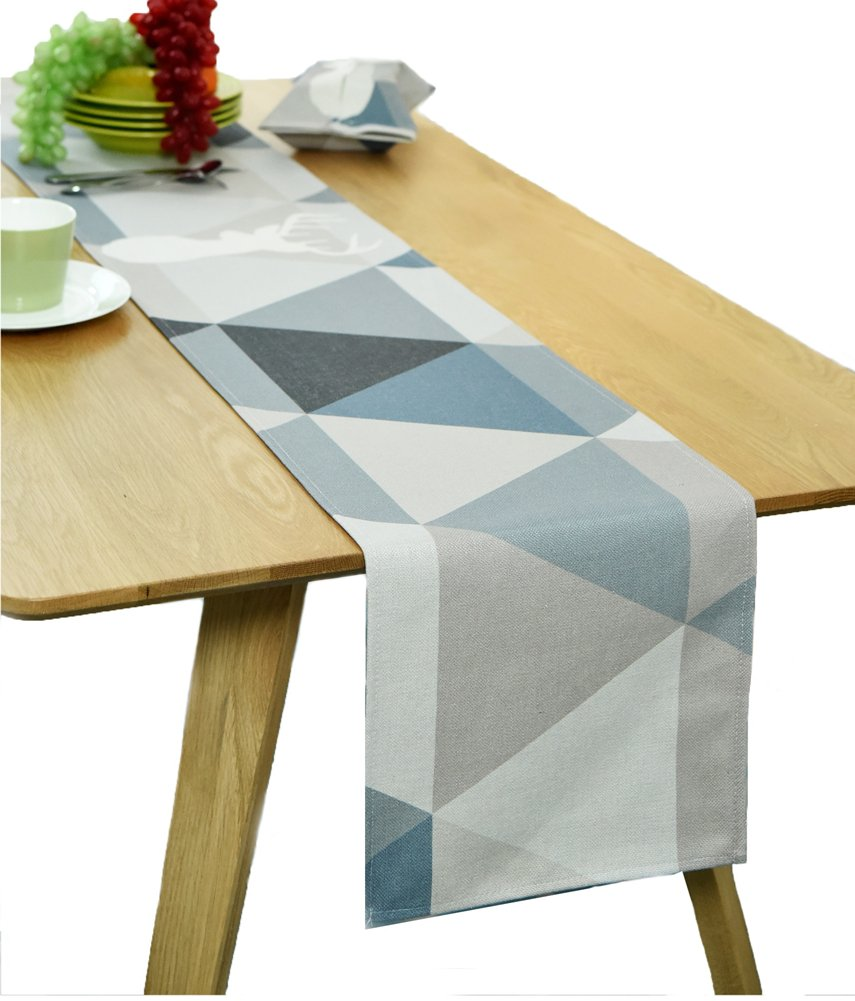 BOXAN 12 x 72 Inches Elegant Grey Geometric Pattern Linen Burlap Table Runner with White Deer Printed for Morden Stylish Wedding Party Holiday Table Setting Decor, Romantic Party Decor