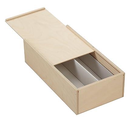 10 x caja de madera con tapa deslizante para 2 x 0,7 litro botellas