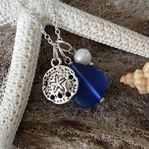 Handmade in Hawaii, cobalt blue sea glass necklace,sand dollar charm, fresh water pearl, sterling silver chain, Hawaiian Gift, FREE gift wrap, FREE gift message, FREE shipping (Handmade Sand)