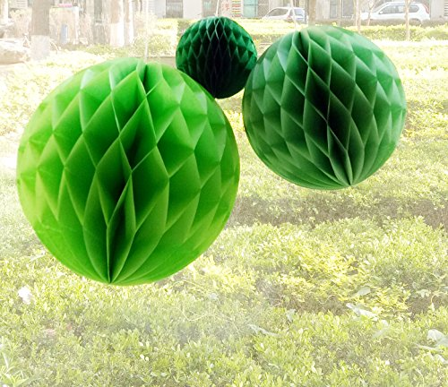 Daily Mall 15Pcs 3 inch 6 inch 8 inch Paper Honeycomb Balls Party Pom Poms Paper Balls Partners Design Art Craft Hanging Pom-Pom Ball Party Wedding Birthday Nursery Decor (Green Set) by Daily Mall