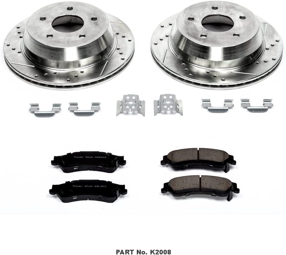 Power Stop K770 Rear Brake Kit with Drilled//Slotted Brake Rotors and Z23 Evolution Ceramic Brake Pads