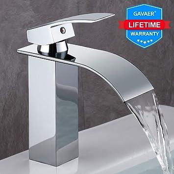GAVAER Wasserfall Wasserhahn Bad, Elegant Waschtischarmatur, Keramikventil,  Kaltes und Heißes Wasser Vorhanden, Messing Verchromt, Lebenslange ...