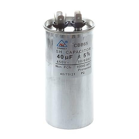 Aire Acondicionado SODIAL (R) 40uf AC 450 V 50/60 Hz Motor condensador
