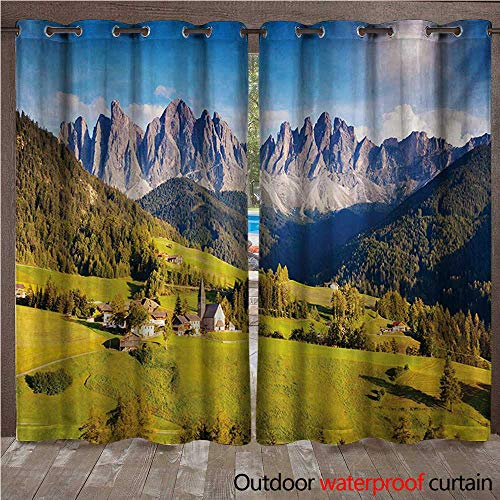 - WilliamsDecor Mountain Outdoor Curtains for Patio Sheer Village View with Mountain Peaks and a Meadow Northern European Alps Artwork W96 x L96(245cm x 245cm)