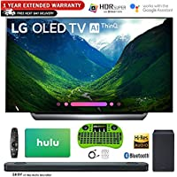 LG OLED65C8P 65 C8 OLED 4K HDR AI Smart TV (2018 Model) with Bonus Hulu $100 Gift Card 1 Year Extended Warranty Bundle and More - OLED65C8