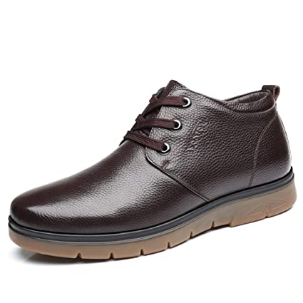 fd4f886c362 Hilotu Men s Work Ankle Boots Casual Business Series Simple Fleece Inside Round  Toe High Top Boots