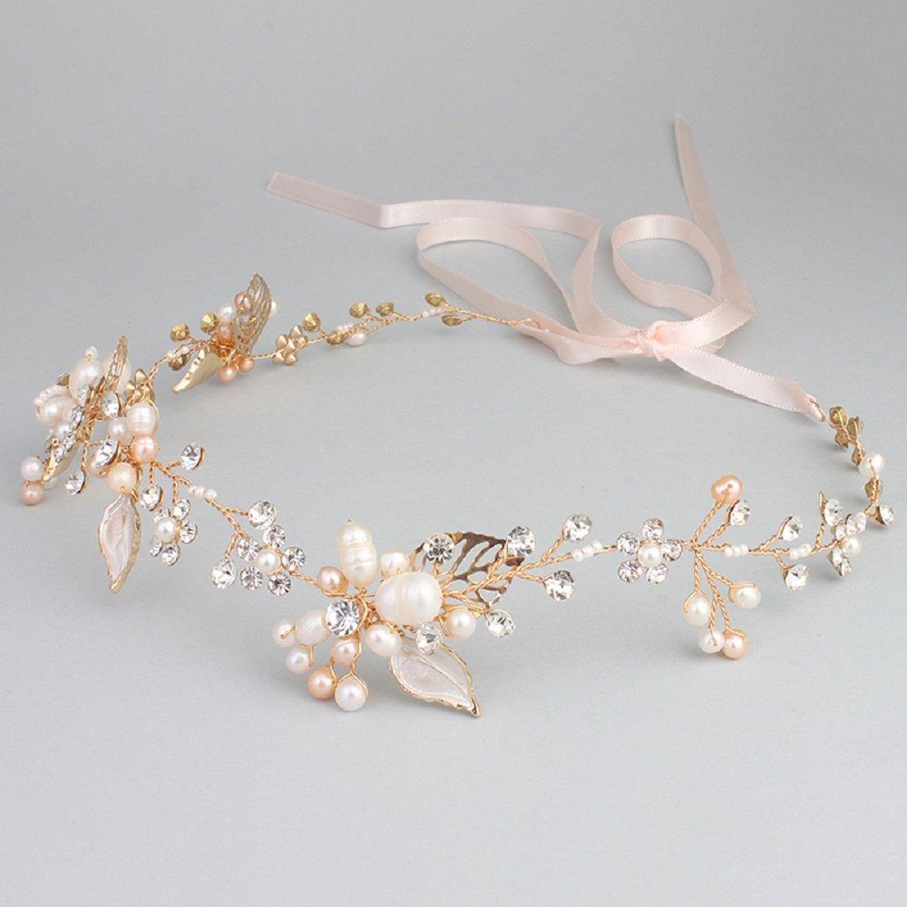 Ammei Bridal Crystal Headband with Freshwater Pearls Flower Design Wedding Hair Accessories by Ammei Headpiece