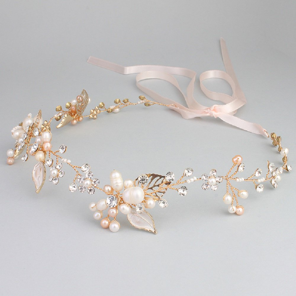 Ammei Bridal Crystal Headband with Freshwater Pearls Flower Design Wedding Hair Accessories