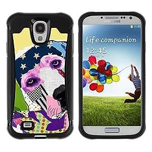 ZETECH CASES / Samsung Galaxy S4 I9500 / LABRADOR RETRIEVER AMERICA MODERN ART / Labrador perro perdiguero América moderno arte / Robusto Caso Carcaso Billetera Shell Armor Funda Case Cover S