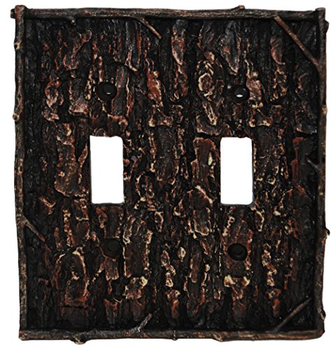 - HiEnd Accents Lodge Pine Bark Double Switch Plate