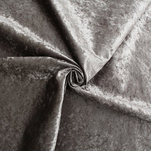 Silver Fire Retardant Luxury Soft Crushed Velvet Glitz Upholstery Cushion Fabric by I Want Fabric by NULL (Image #1)