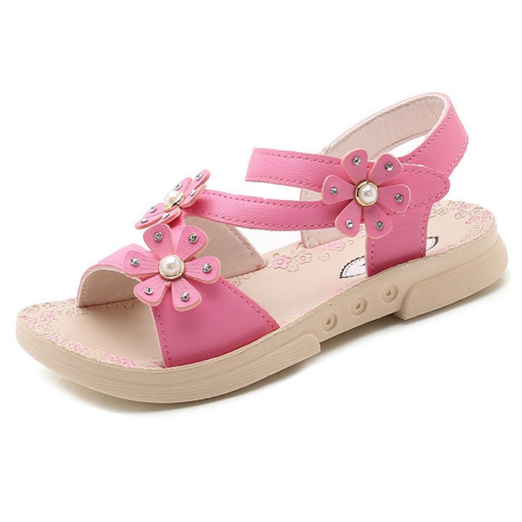 Girls Summer Sandals Fashion Flower Open Toe Lighted Soft-Soled Princess Flat Shoes(Toddler Kid/Little Kid)